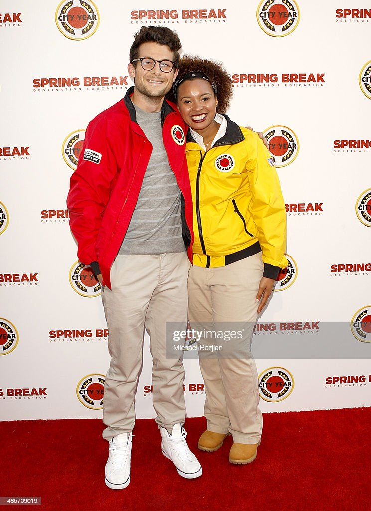 Producer Jacob Soboroff (L) and City Year Los Angeles AmeriCorps member attend the City Year Los Angeles 'Spring Break' Fundraiser at Sony Studios on April 19, 2014 in Los Angeles, California.
