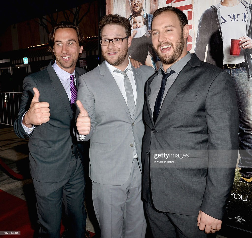 Producer James Weaver, actor/producer Seth Rogen and producer Evan Goldberg attend Universal Pictures' 'Neighbors' premiere at Regency Village Theatre on April 28, 2014 in Westwood, California.