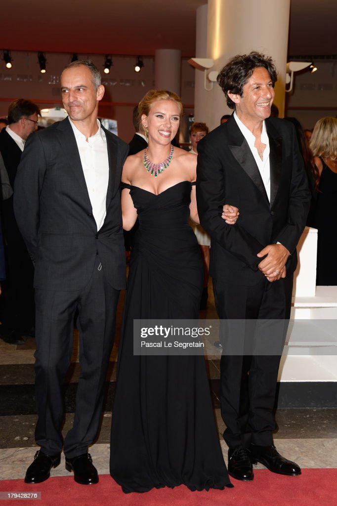 Producer James Wilson, actress Scarlett Johansson and director Jonathan Glazer attend 'Under The Skin' Premiere during the 70th Venice International Film Festival at Palazzo del Cinema on September 3, 2013 in Venice, Italy.