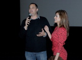 Producer Jamie Patricof introduces actress Eva Mendes to the audience prior to the screening of The Place Beyond The Pines hosted by Jacqui Getty for...
