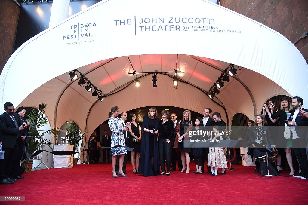 Producer Jane Rosenthal Susan Zuccotti and Zuccotti family cut the ribbon during the Opening Night Ceremony at 'The First Monday In May' World...