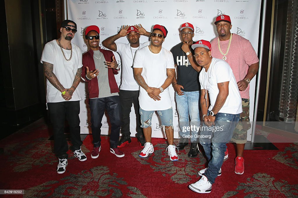 Producer Jason 'Jay E' Epperson, rappers Chingy, Huey, Nelly, J-Kwon, City Spud and Ali arrive at Drai's Beach Club - Nightclub at The Cromwell Las Vegas on June 25, 2016 in Las Vegas, Nevada.
