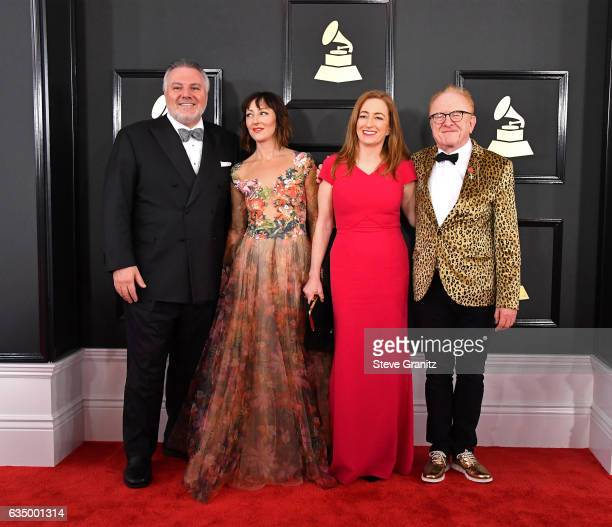 Producer Jay Alix actress Carmen Cusack producer Una Jackman and guitarist Peter Asher attend The 59th GRAMMY Awards at STAPLES Center on February 12...