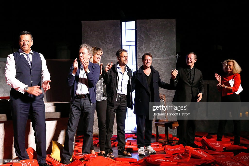 Producer Jean Martinez Michel Drucker Decorator Stephanie Jarre her companion stage director Steve Suissa actors Davy Sardou Francis Huster and...