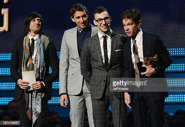 Producer Jeff Bhasker and musicians Andrew Dost Jack Antonoff and Nate Ruess of fun accept an award onstage at the 55th Annual GRAMMY Awards at...