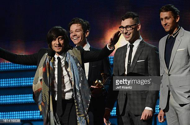 Producer Jeff Bhasker and musicians Nate Ruess Jack Antonoff and Andrew Dost of fun accept an award onstage at the 55th Annual GRAMMY Awards at...