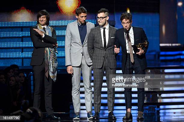 Producer Jeff Bhasker with musicians Nate Ruess Jack Antonoff and Andrew Dost of fun accept Song of the Year award for 'We Are Young' onstage at the...