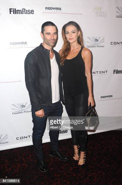 Producer Jeff Gum and Sophie Skelton arrive for the Screening Of 'The Vault' held at Ahrya Fine Arts Movie Theater on August 31 2017 in Beverly Hills...