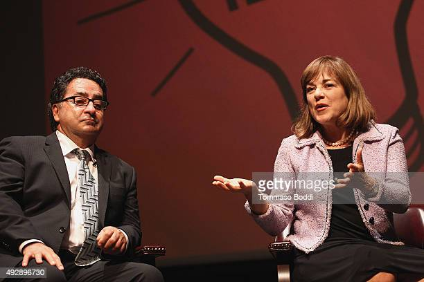 Producer Jeff Valdez and US Representative Loretta Sanchez attend the Latino In America held at Occidental College on October 15 2015 in Los Angeles...