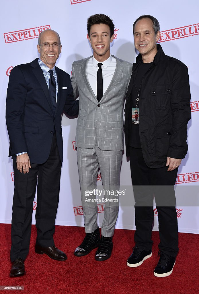 Producer Jeffrey Katzenberg actor Cameron Dallas and Awesomeness TV CEO Brian Robbins arrive at the premiere of AwesomenessTV's 'Expelled' at...