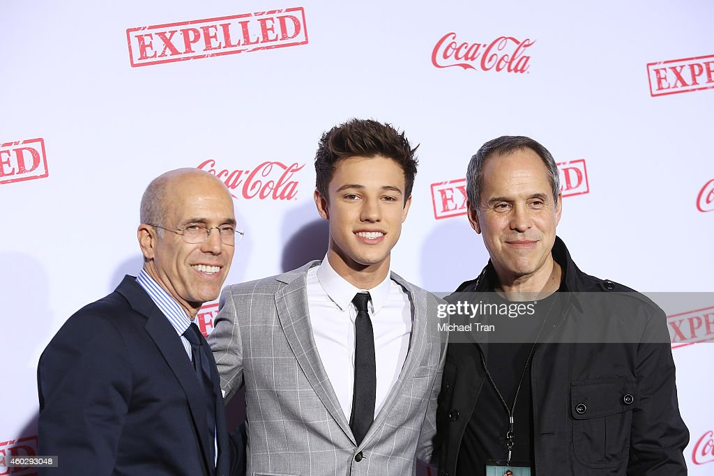 Producer Jeffrey Katzenberg actor Cameron Dallas and Awesomeness TV CEO Brian Robbins arrive at the Los Angeles premiere of AwesomenessTV's...