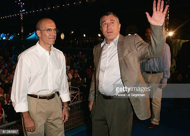 Producer Jeffrey Katzenberg and actor Robert De Niro attend the World Premiere of 'Shark Tale' in San Marco Square as part of the 61st Venice Film...