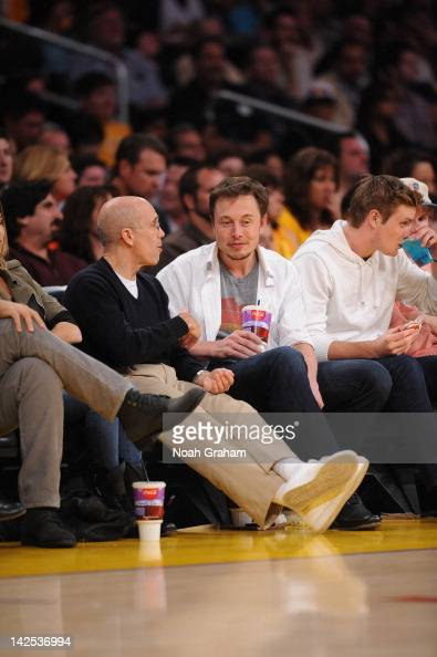 Producer Jeffrey Katzenberg and entrepreneur Elon Musk attend a game between the Houston Rockets and the Los Angeles Lakers at Staples Center on...