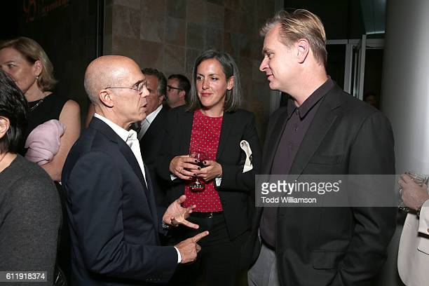 Producer Jeffrey Katzenberg producer Emma Thomas and filmmaker Christopher Nolan attend the MPTF 95th anniversary celebration with 'Hollywood's Night...