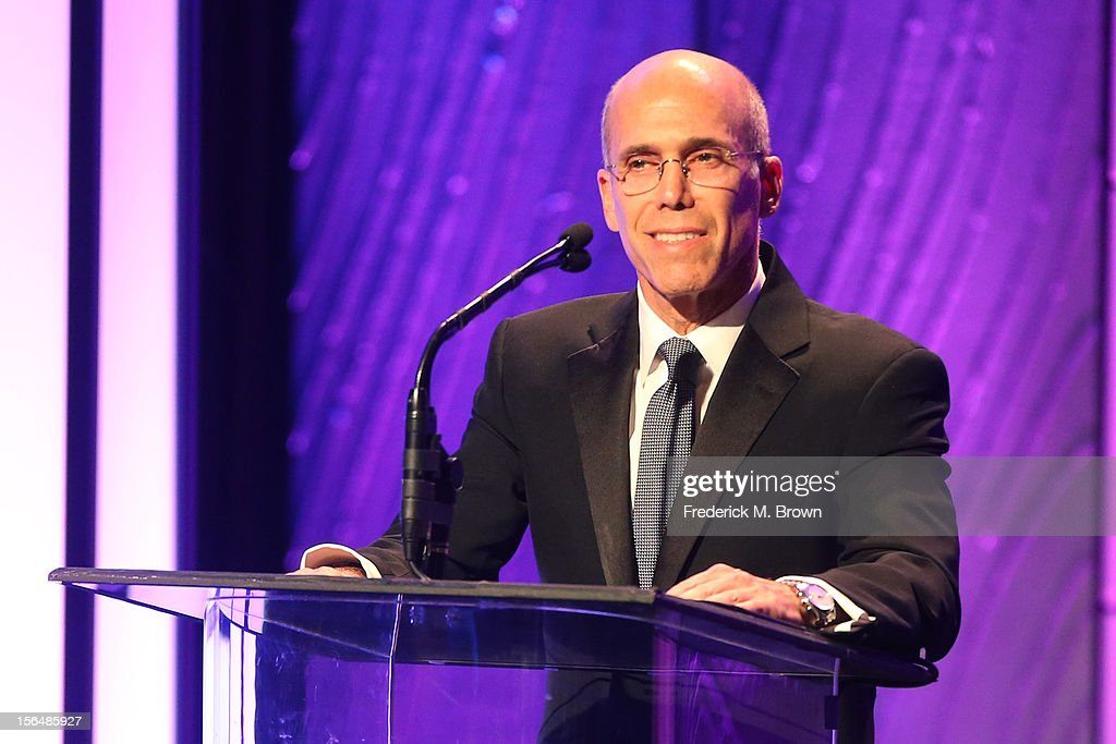 Producer <a gi-track='captionPersonalityLinkClicked' href=/galleries/search?phrase=Jeffrey+Katzenberg&family=editorial&specificpeople=171496 ng-click='$event.stopPropagation()'>Jeffrey Katzenberg</a> speaks onstage during the 26th American Cinematheque Award Gala honoring Ben Stiller at The Beverly Hilton Hotel on November 15, 2012 in Beverly Hills, California.