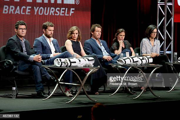 Producer Jeffrey Reiner actors Joshua Jackson Ruth Wilson Dominic West and Maura Tierney and creator/producer Sarah Treem speak onstage at the 'The...