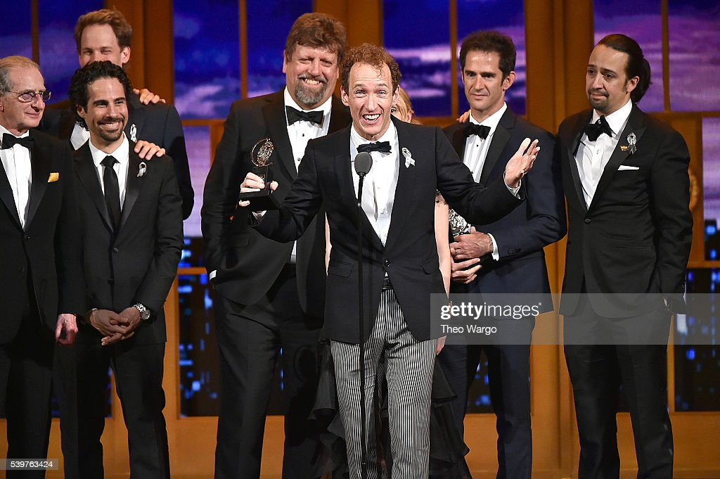 Producer Jeffrey Seller (C) accepts the Tony award for Best Musical for 'Hamilton' onstage with his cast and creative team during the 70th Annual Tony Awards at The Beacon Theatre on June 12, 2016 in New York City.