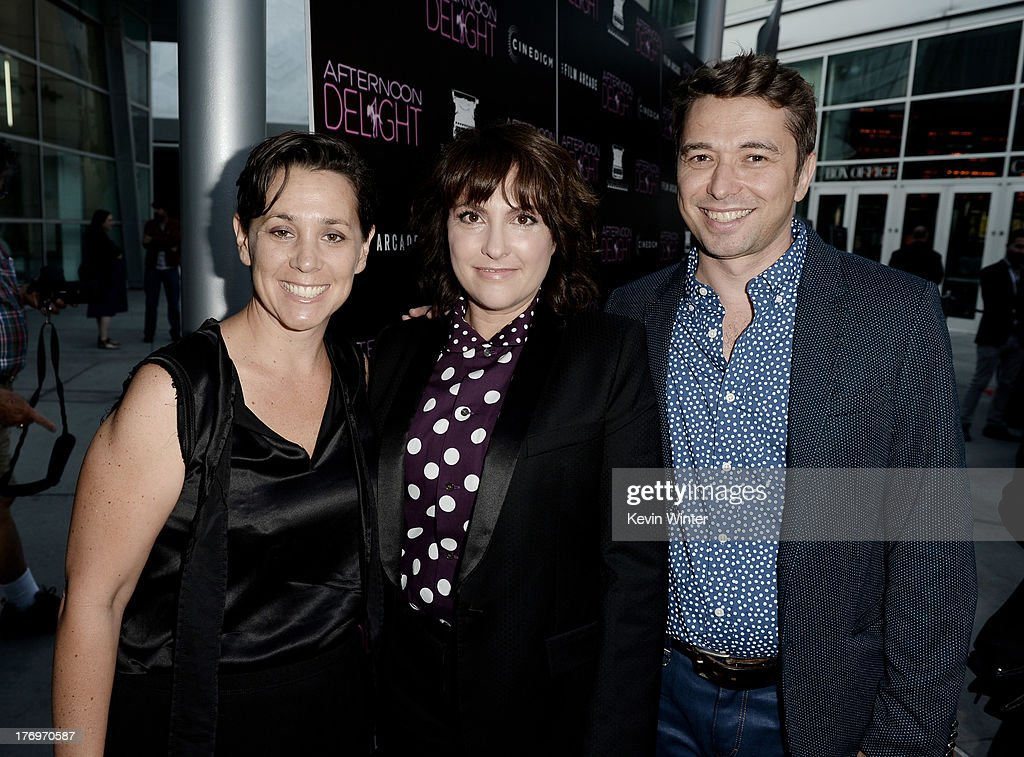 Producer Jennifer Chaiken, director <a gi-track='captionPersonalityLinkClicked' href=/galleries/search?phrase=Jill+Soloway&family=editorial&specificpeople=1131373 ng-click='$event.stopPropagation()'>Jill Soloway</a> and producer Sebastian Dungan arrive at the premiere of The Film Arcade and Cinedigm's 'Afternoon Delight' at the Arclight Theatre on August 19, 2013 in Los Angeles, California.
