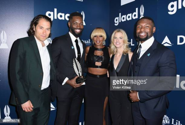 Producer Jeremy Kleiner screenwriter Tarell Alvin McCraney singer Mary J Blige GLAAD President CEO Sarah Kate Ellis and actor Trevante Rhodes pose...