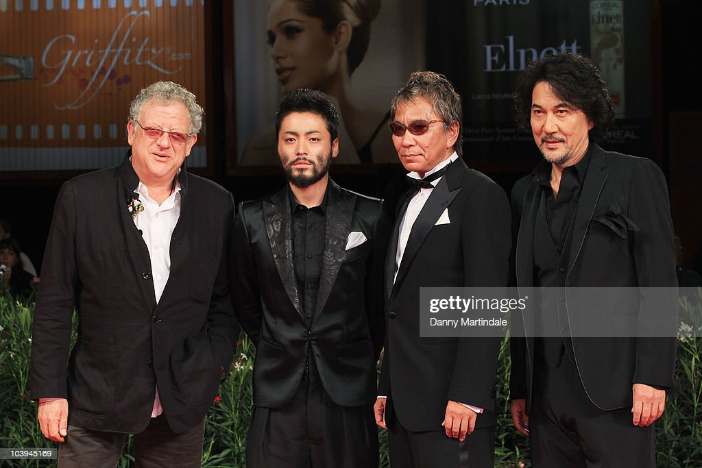 Producer <a gi-track='captionPersonalityLinkClicked' href=/galleries/search?phrase=Jeremy+Thomas+-+Film+Producer&family=editorial&specificpeople=629756 ng-click='$event.stopPropagation()'>Jeremy Thomas</a>, actor Takayuki Yamada, director <a gi-track='captionPersonalityLinkClicked' href=/galleries/search?phrase=Takashi+Miike&family=editorial&specificpeople=822402 ng-click='$event.stopPropagation()'>Takashi Miike</a> and actor <a gi-track='captionPersonalityLinkClicked' href=/galleries/search?phrase=Koji+Yakusho&family=editorial&specificpeople=616781 ng-click='$event.stopPropagation()'>Koji Yakusho</a> attend the '13 Assassins' premiere at the Palazzo del Cinema during the 67th Venice International Film Festival on September 9, 2010 in Venice, Italy.