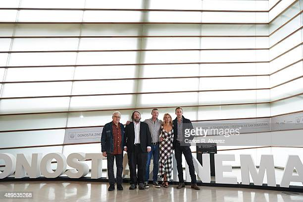 Producer Jeremy Thomas director Ben Wheatley Luke Evans Sienna Miller and Tom Hiddleston attend the 'HighRise' photocall at the Kursaal Palace during...