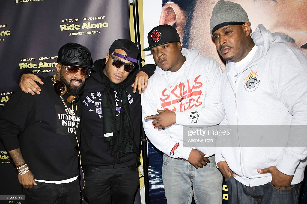 Producer <a gi-track='captionPersonalityLinkClicked' href=/galleries/search?phrase=Jermaine+Dupri&family=editorial&specificpeople=201712 ng-click='$event.stopPropagation()'>Jermaine Dupri</a> and Styles P, <a gi-track='captionPersonalityLinkClicked' href=/galleries/search?phrase=Jadakiss&family=editorial&specificpeople=224058 ng-click='$event.stopPropagation()'>Jadakiss</a> and Sheek Louch attend the 'Ride Along' screening at AMC Loews Lincoln Square on January 15, 2014 in New York City.