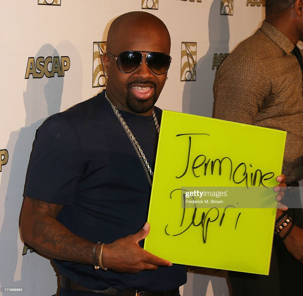 Producer <a gi-track='captionPersonalityLinkClicked' href=/galleries/search?phrase=Jermaine+Dupri&family=editorial&specificpeople=201712 ng-click='$event.stopPropagation()'>Jermaine Dupri</a> attends The American Society of Composers, Authors and Publishers (ASCAP) 26th Annual Rhythm & Soul Music Awards at The Beverly Hilton Hotel on June 27, 2013 in Beverly Hills, California.