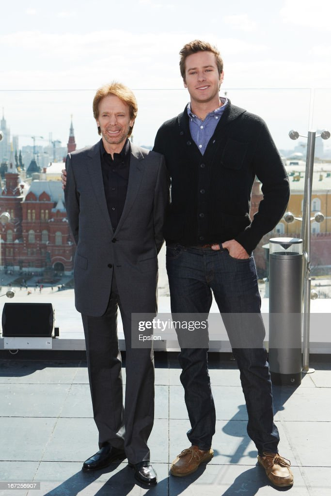 Producer Jerry Bruckheimer and actor Armie Hammer attend a photocall for Walt Disney Pictures' 'Lone Ranger' at Ritz Carlton Hotel on April, 23, 2013 in Moscow, Russia. (Photo Epsilon/Getty Images).