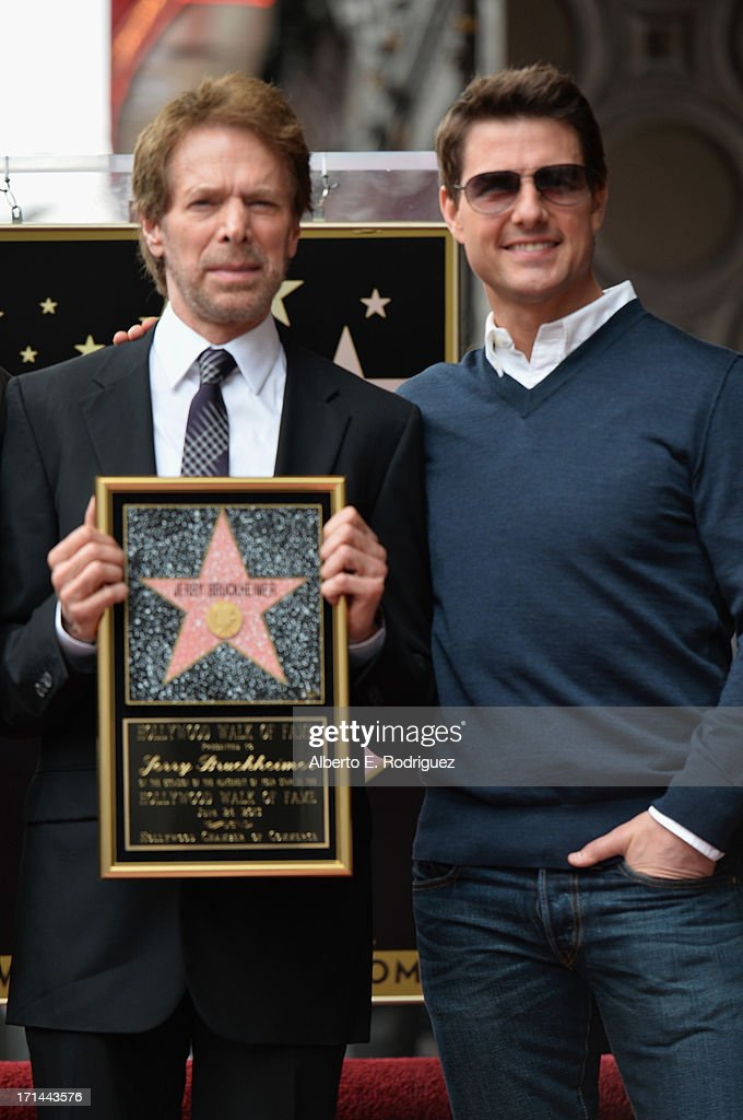Producer <a gi-track='captionPersonalityLinkClicked' href=/galleries/search?phrase=Jerry+Bruckheimer&family=editorial&specificpeople=203316 ng-click='$event.stopPropagation()'>Jerry Bruckheimer</a> and actor <a gi-track='captionPersonalityLinkClicked' href=/galleries/search?phrase=Tom+Cruise&family=editorial&specificpeople=156405 ng-click='$event.stopPropagation()'>Tom Cruise</a> attend Legendary Producer <a gi-track='captionPersonalityLinkClicked' href=/galleries/search?phrase=Jerry+Bruckheimer&family=editorial&specificpeople=203316 ng-click='$event.stopPropagation()'>Jerry Bruckheimer</a> Hollywood Walk of Fame Star Ceremony on the Hollywood Walk of Fame on June 24, 2012 in Hollywood, California.