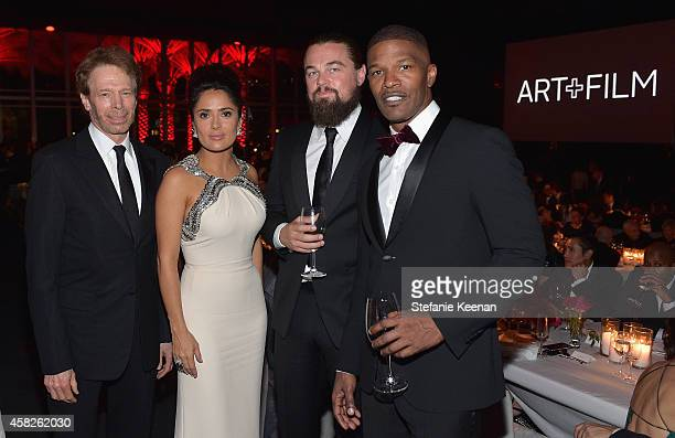 Producer Jerry Bruckheimer and actors Salma Hayek Pinault wearing Gucci Leonardo DiCaprio and Jamie Foxx attend the 2014 LACMA Art Film Gala honoring...