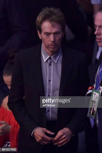 Producer Jerry Bruckheimer attends the super welterweight boxing match between Floyd Mayweather Jr and Conor McGregor on August 26 2017 at TMobile...