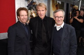 Producer Jerry Bruckheimer director/executive producer Michael Bay and executive producer Steven Spielberg attend the New York Premiere of...