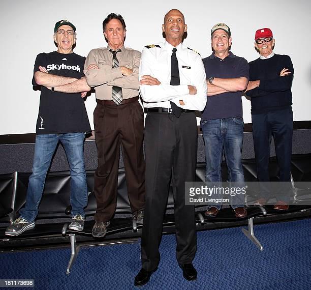 Producer Jerry Zucker actor Robert Hays NBA great/actor Kareem AbdulJabbar producer David Zucker and director Jim Abrahams attend the 'Airplane' 30th...