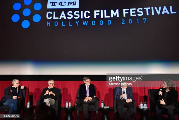 Producer Jerry Zucker directors Jim Abrahams John Landis David Zucker and Edgar Wright speak onstage during the screening of 'The Kentucky Fried...