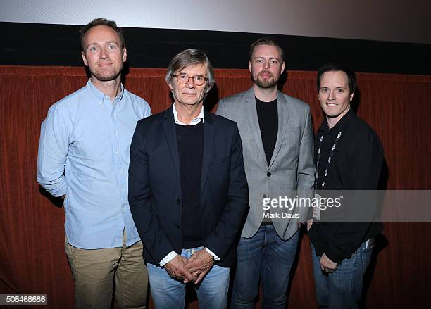 Producer Jesper Morthorst Director Bille August Writer Christian Torpe and Moderator Mickey Duzdevich attends a screening of 'Silent Heart' at the...