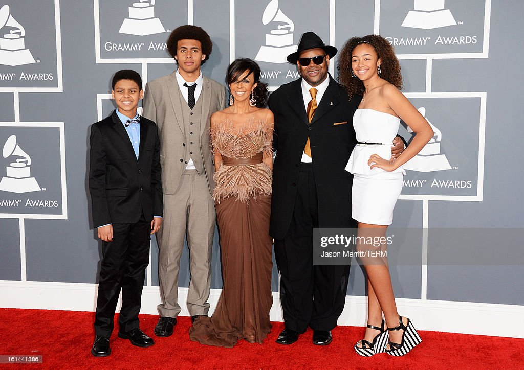 Producer Jimmy Jam (2nd R) and family arrive at the 55th Annual GRAMMY Awards at Staples Center on February 10, 2013 in Los Angeles, California.