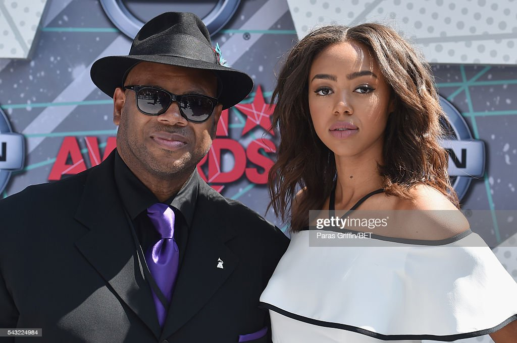 Producer <a gi-track='captionPersonalityLinkClicked' href=/galleries/search?phrase=Jimmy+Jam&family=editorial&specificpeople=211251 ng-click='$event.stopPropagation()'>Jimmy Jam</a> (L) and model Bella Harris attend the 2016 BET Awards at the Microsoft Theater on June 26, 2016 in Los Angeles, California.