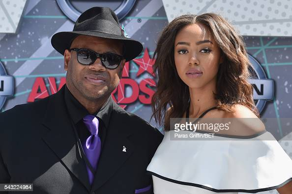 Producer Jimmy Jam and model Bella Harris attend the 2016 BET Awards at the Microsoft Theater on June 26 2016 in Los Angeles California