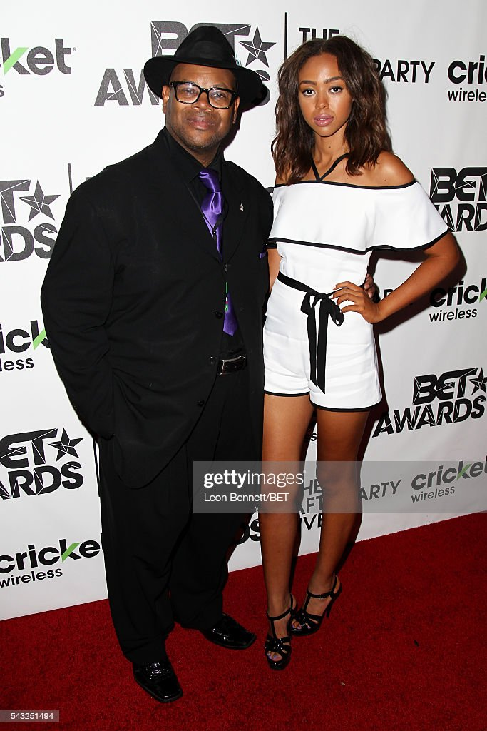 Producer Jimmy Jam and model Bella Harris attend the BET Awards post show in the Cricket Lounge after the 2016 BET Awards on June 26 2016 in Los...