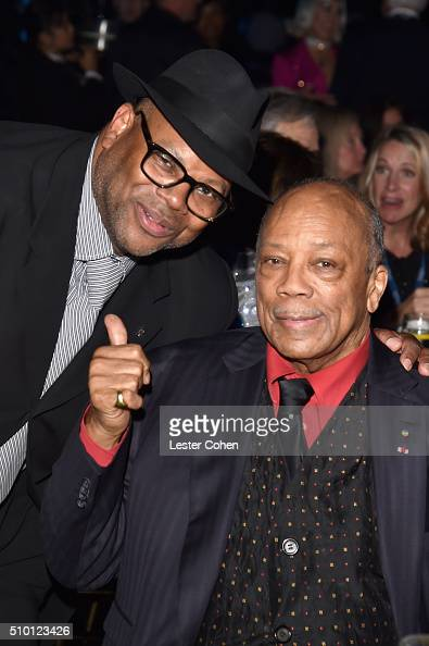 Producer Jimmy Jam and musician Quincy Jones attend the 2016 MusiCares Person of the Year honoring Lionel Richie at the Los Angeles Convention Center...