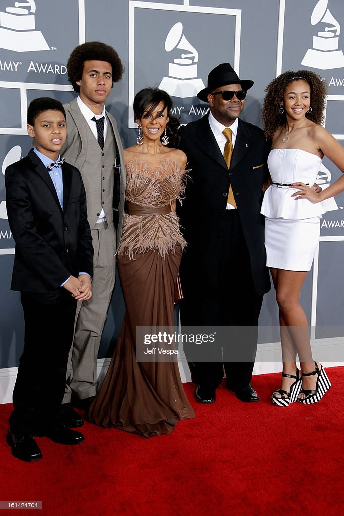 Producer Jimmy Jam(2nd from right), wife Lisa Padilla and children attend the 55th Annual GRAMMY Awards at STAPLES Center on February 10, 2013 in Los Angeles, California.