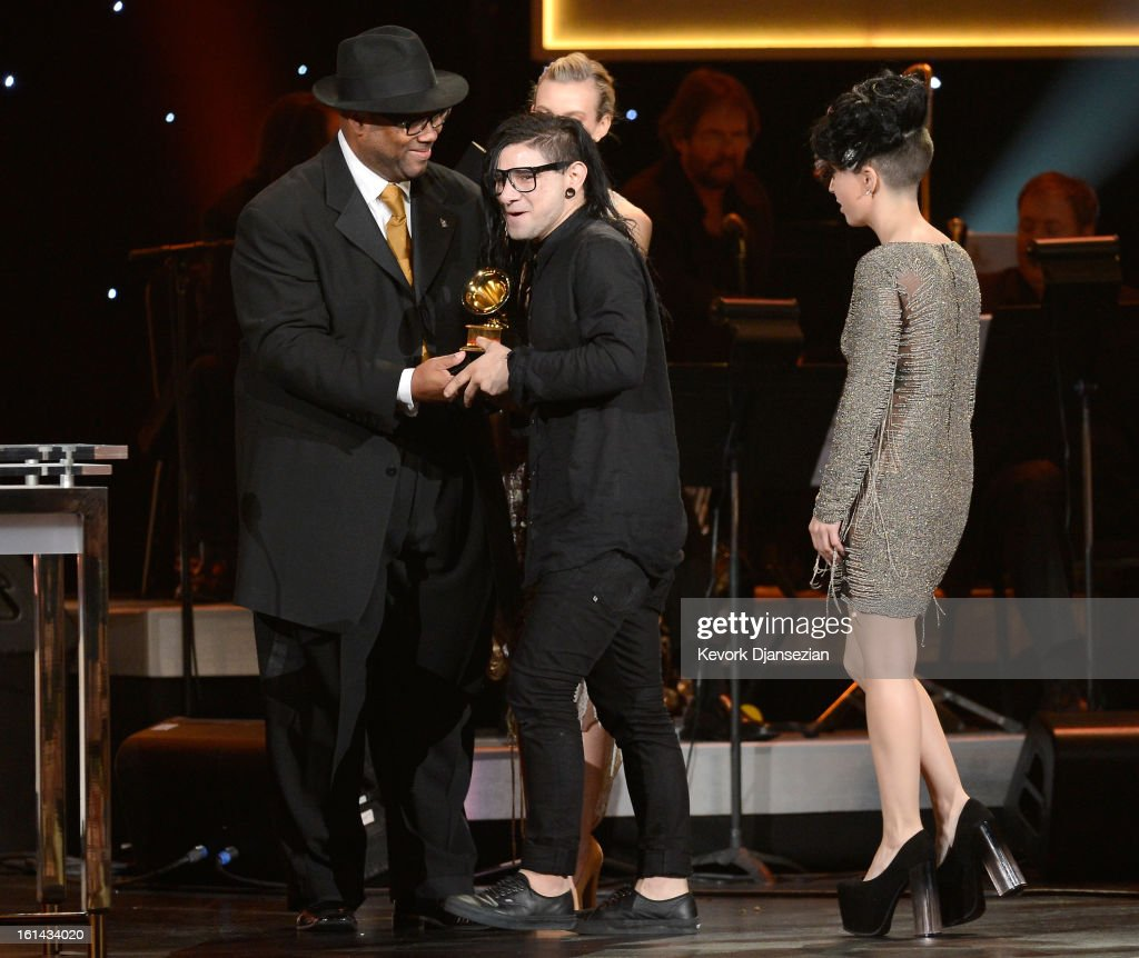 Producer Jimmy Jam, with Skrillex and Sirah, winners of Best Dance Recording, onstage at the The 55th Annual GRAMMY Awards at Nokia Theatre on February 10, 2013 in Los Angeles, California.