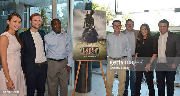 Producer Joanna Natasegara director Orlando von Einsiedel gorilla caretaker Andre Bauma Director of Virunga National Park Emmanuel de Merode Chief...