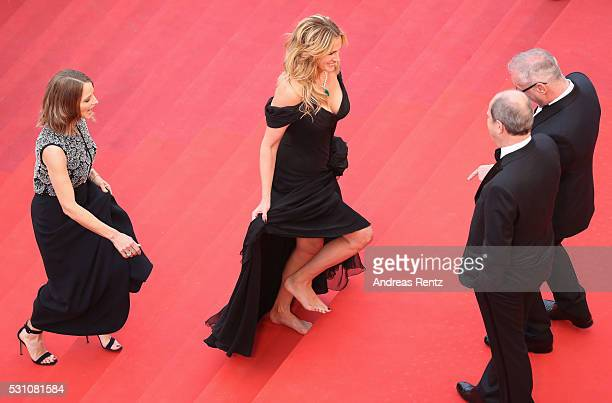 Producer Jodie Foster and actress Julia Roberts walk up upon their arrival at the 'Money Monster' premiere during the 69th annual Cannes Film...