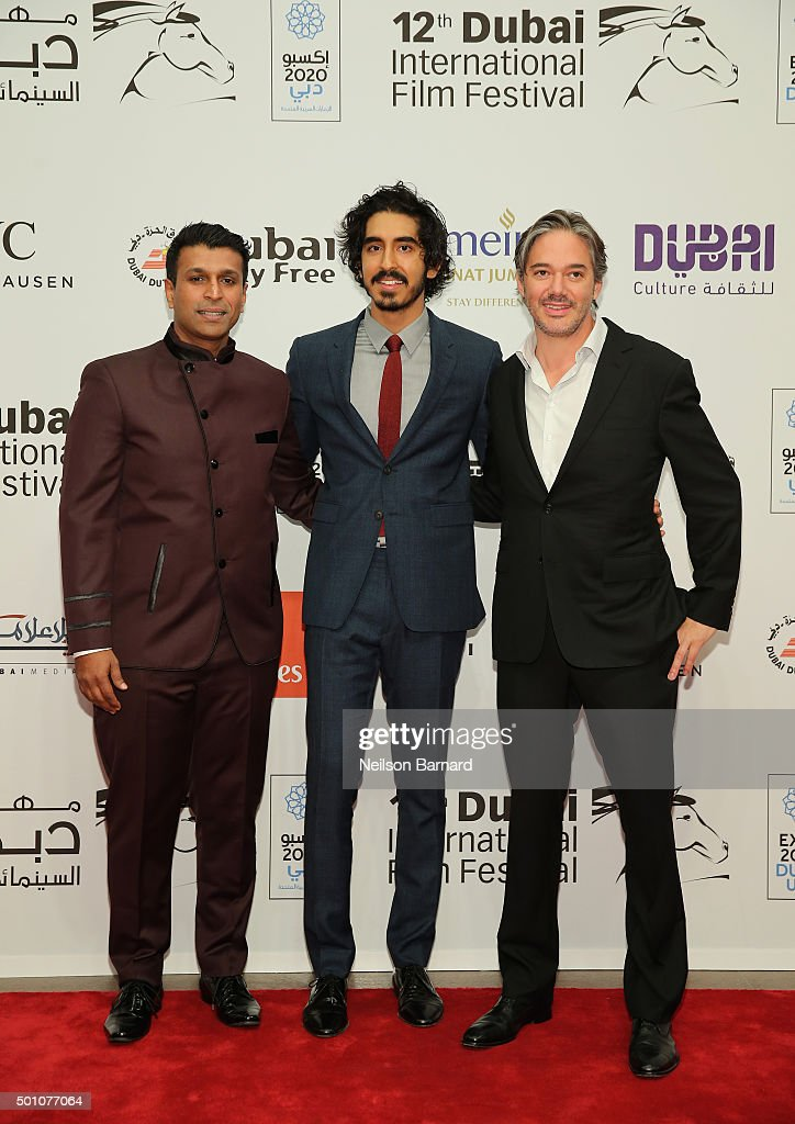 Producer Joe Thomas, actor Dev Patel and director Matt Brown attend 'The Man Who Knew Infinity' premiere during day four of the 12th annual Dubai International Film Festival held at the Madinat Jumeriah Complex on December 12, 2015 in Dubai, United Arab Emirates.