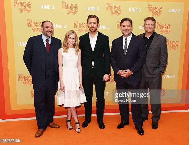 Producer Joel Silver Angourie Rice Ryan Gosling Russell Crowe and Director Shane Black attend the 'The Nice Guys' UK Premiere at Odeon Leicester...