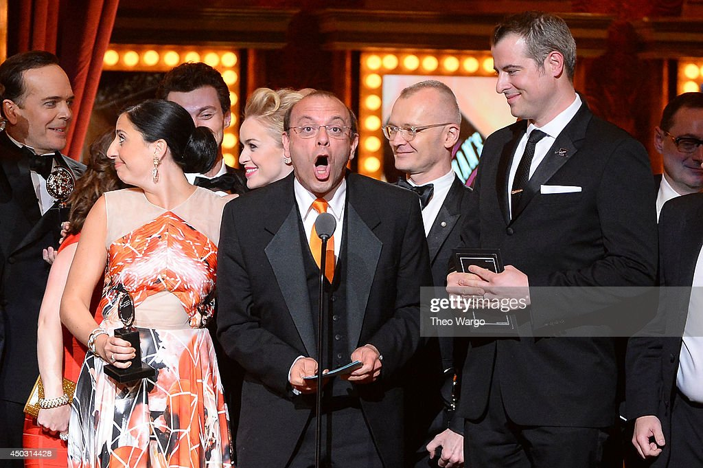 Producer Joey Parnes (C) accepts the award for Best Musical for 'A Gentleman's Guide to Love & Murder' onstage during the 68th Annual Tony Awards at Radio City Music Hall on June 8, 2014 in New York City.