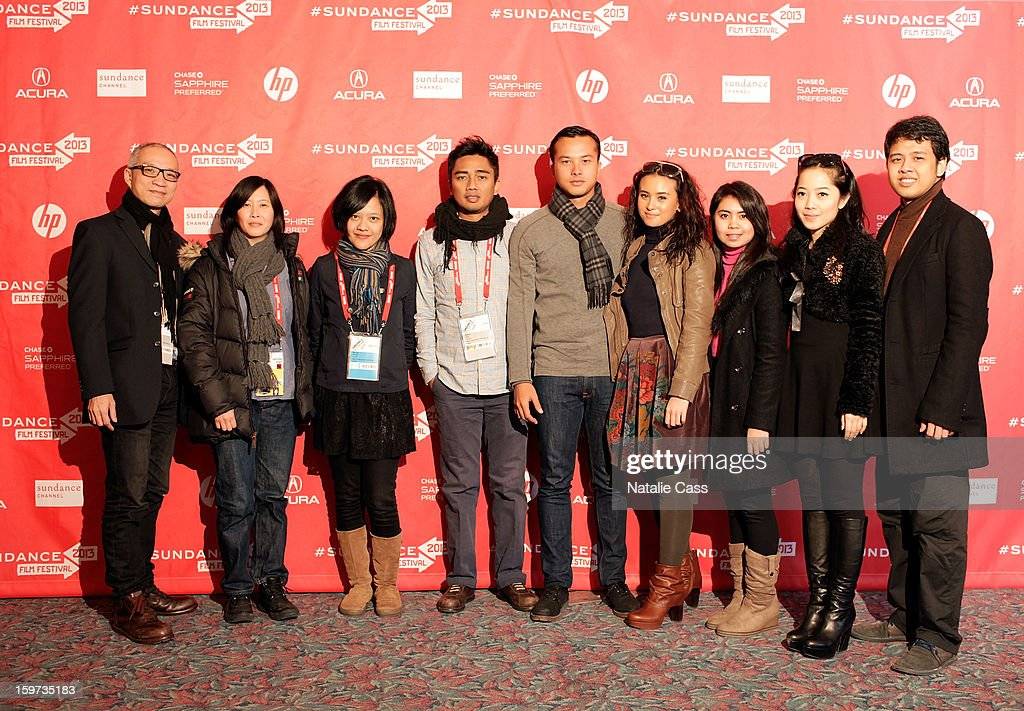Producer John Badalu, Sundance Film Festival programmer Kim Yutani, writer/director Mouly Surya, producer Rama Adi, actor Nicholas Saputra, actresses Ayushita, Lupita Jennifer and Karina Salim and producer Fauzan Zidni attendsLove' premiere at Prospector Square during the 2013 Sundance Film Festival on January 19, 2013 in Park City, Utah.
