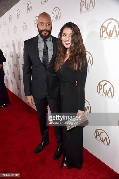 Producer John Ridley and Gayle Ridley attend 27th Annual Producers Guild Of America Awards at the Hyatt Regency Century Plaza on January 23 2016 in...