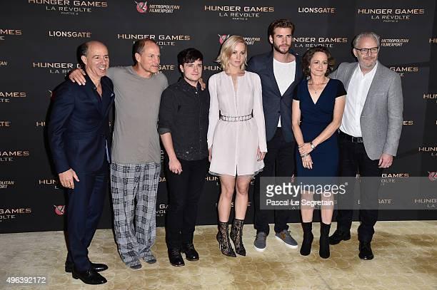 Producer Jon Kilik Actors Woody HarrelsonJosh HutchersonJennifer LawrenceLiam Hemsworth Producer Nina Jacobson and Director Francis Lawrence attend...